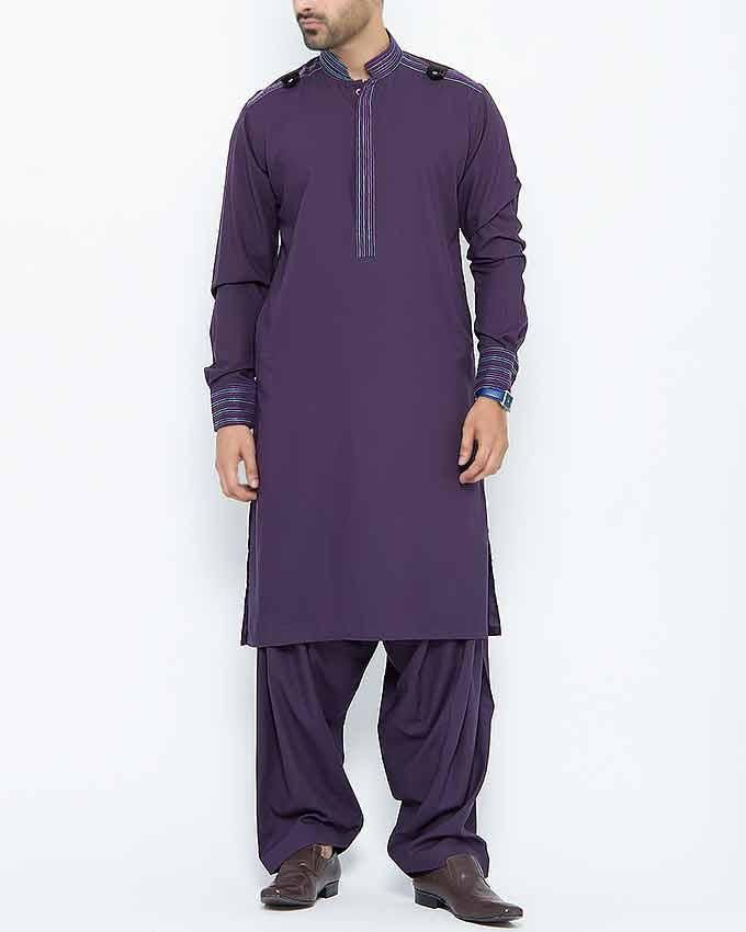 Purple Viscose And Cotton Blended Shalwar Kameez