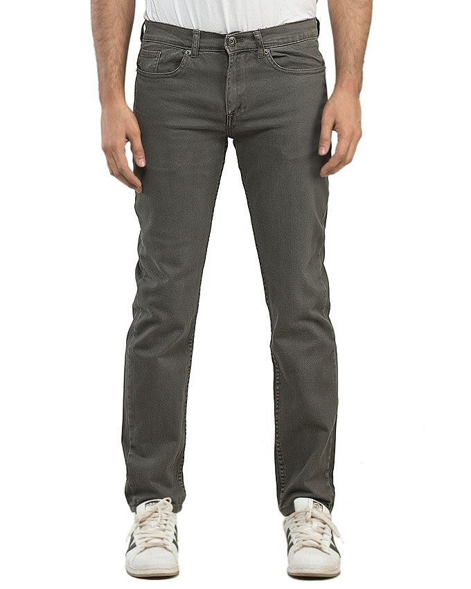 Dark Grey Twill Men's garment dyed basic pant