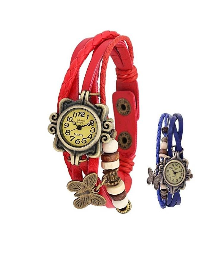 Rubian Pack of 2 - Blue & Red Leather Bracelet Wat