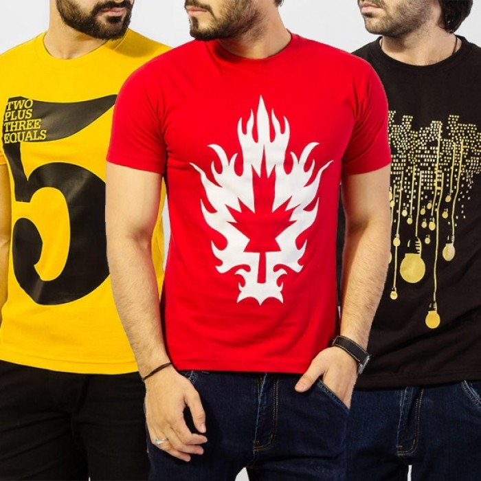 Men's Combo Of 3 Graphics T-Shirt. TA-3