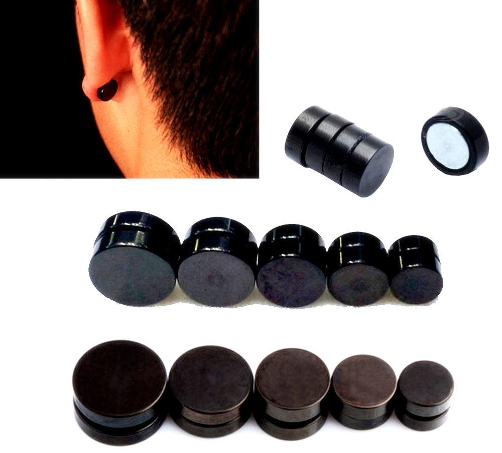 1 Pair Black Magnetic Stud Non Piercing Round stud
