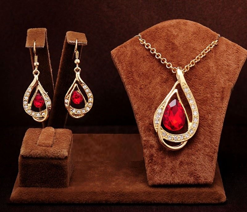 18k Gold Filled Ruby Necklace & Earrings