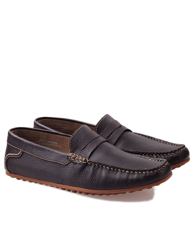 Brown Leather Fregmo Mild Mocassins For Men