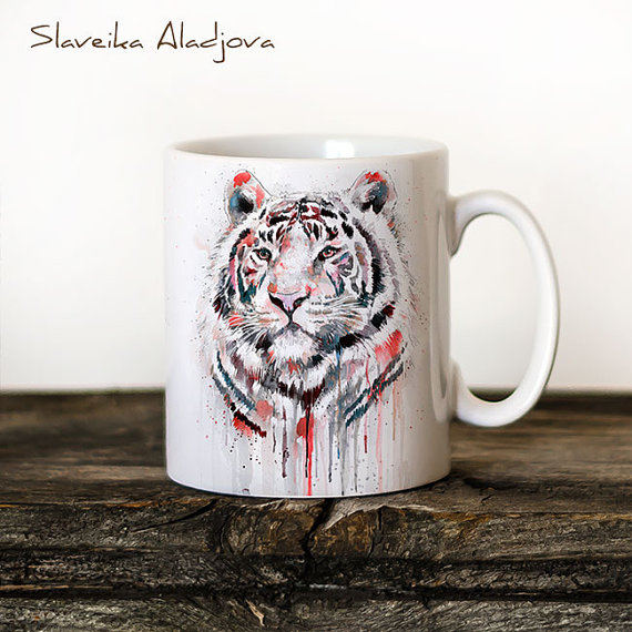 Printed White Tiger Mug