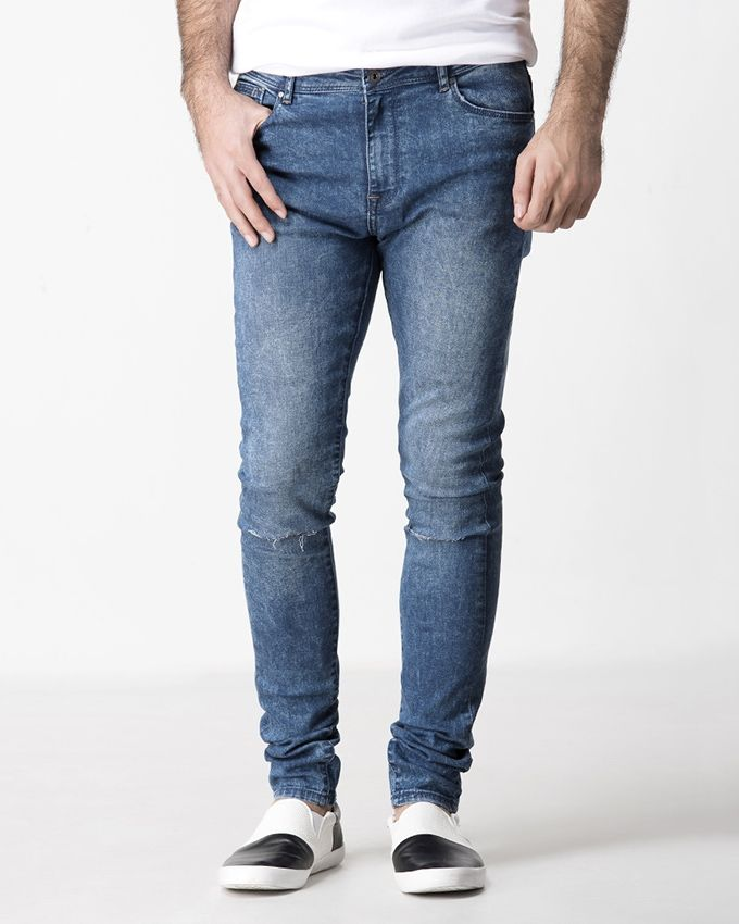 Blue Cotton Light Toned Ripped Pant for Men