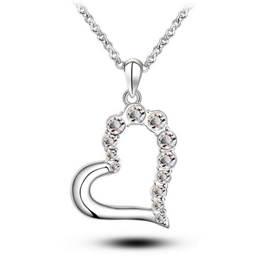 18 K Rose White Gold Plated Heart Shape Austrian C