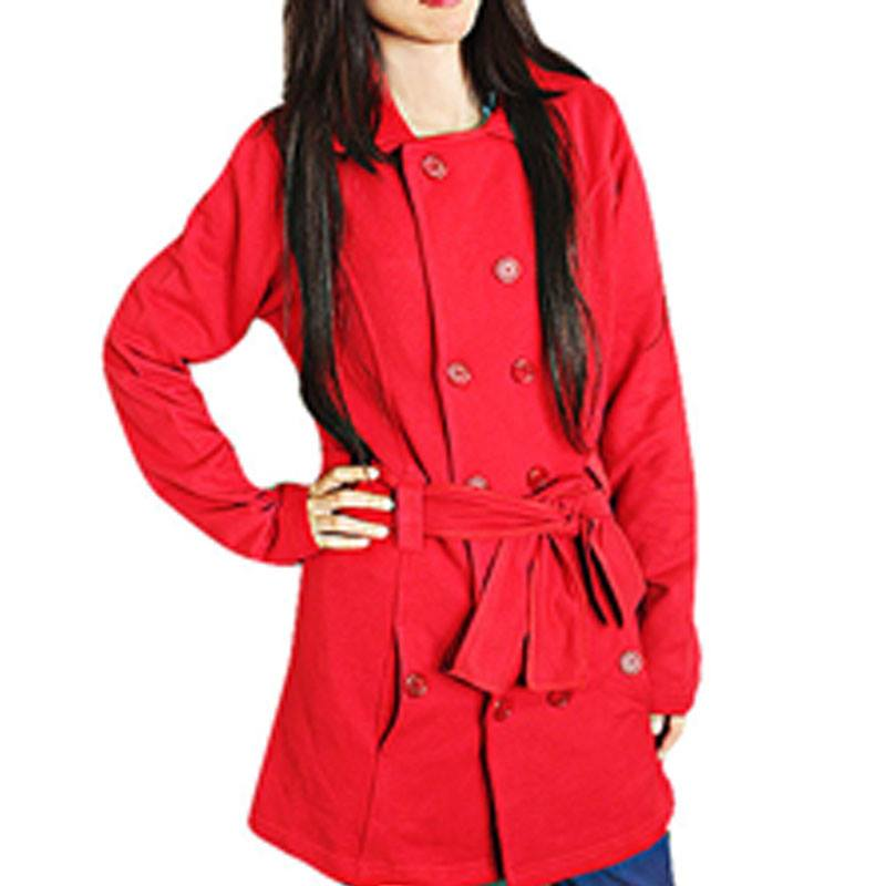 Stylish Red Polar Fleece Coat For Her