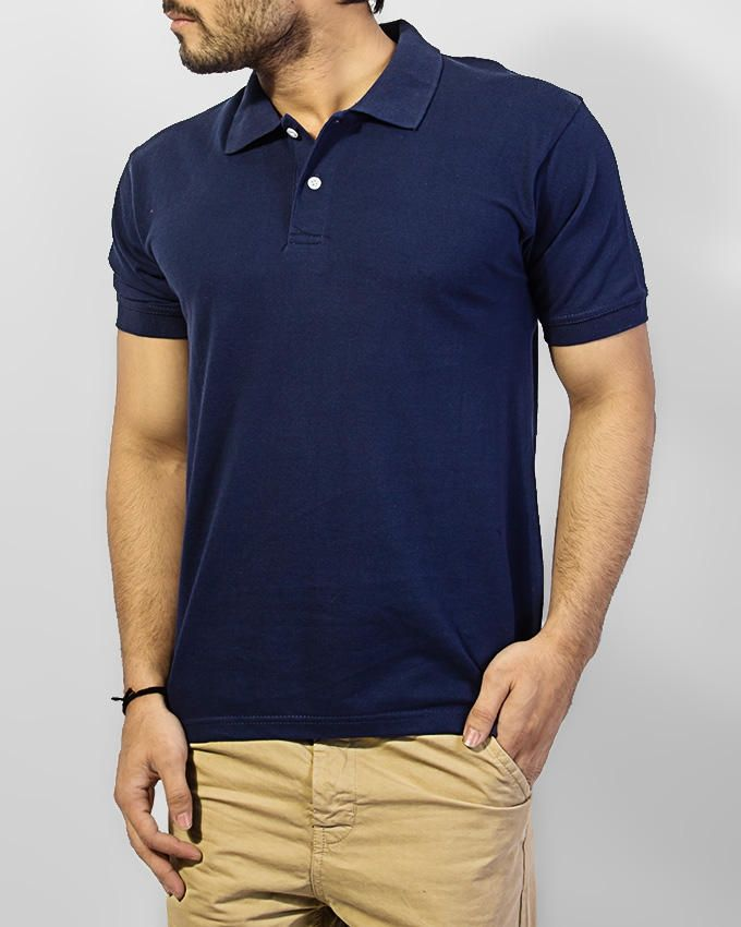 Fashion Zone Navy Blue Cotton Stylish Polo T-Shirt