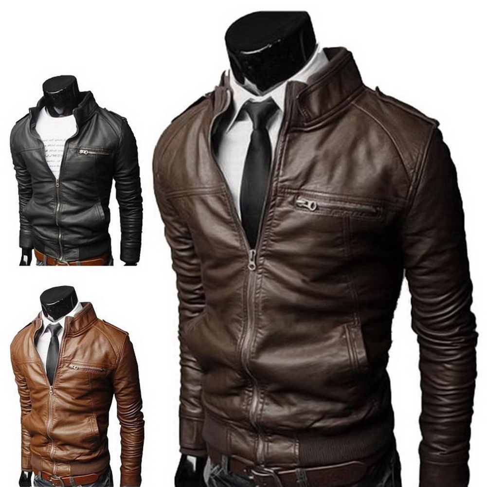Men's fashion jackets collar Slim motorcycle leath