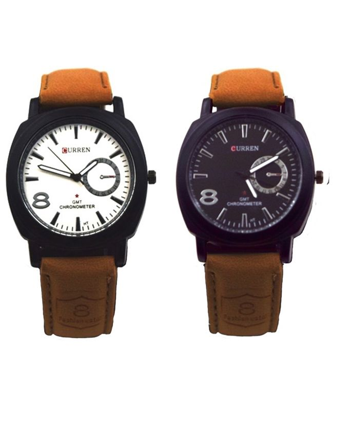 Curren-Pack-of-2---Brown-Leather-Watch-For-Men-6721.html