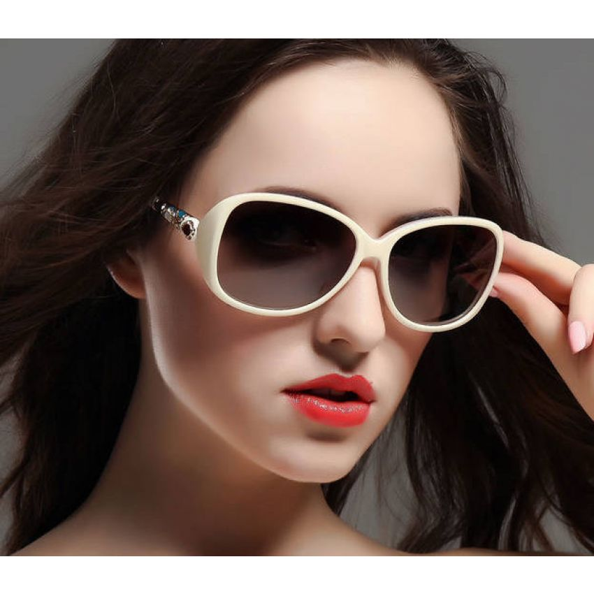 White & Black Frame Fashion Sunglasses For Women