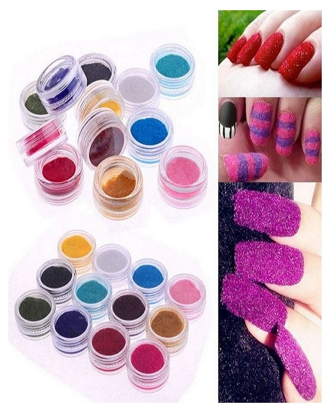 akiamore Pack of 12 Nail Art Glitter - Multicolour