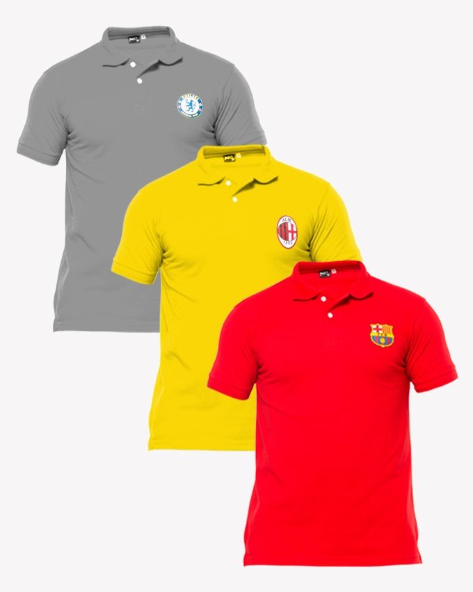 Aybeez gray,red,yellow pack of 3 polo t shirts with front logo