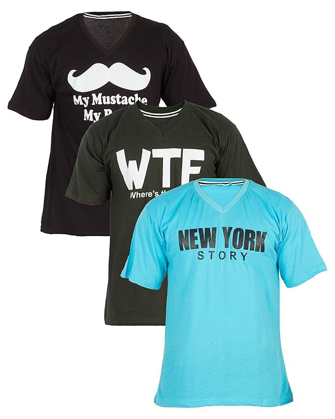 Pack-of-3---Multicolor-Cotton-Jersey-Printed-T-Shirt-For-Men-3690.html