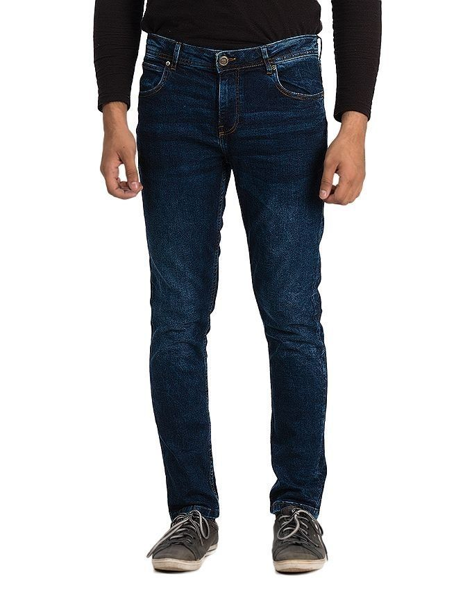 Blue Denim Fishbone Skinny Jeans for Men
