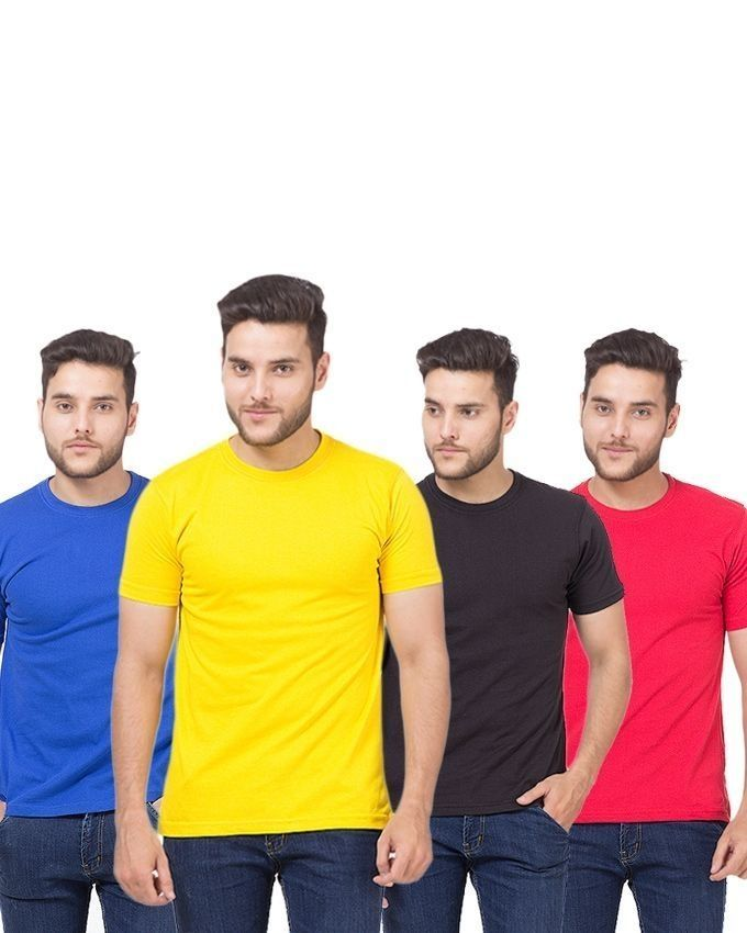 Pack Of 4 - Multicolour Plain Cotton T-Shirts For