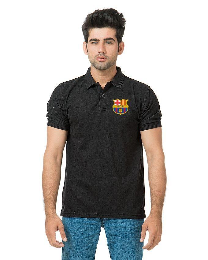 Fashion Zone Black Barcelona Logo Polo Shirt for M