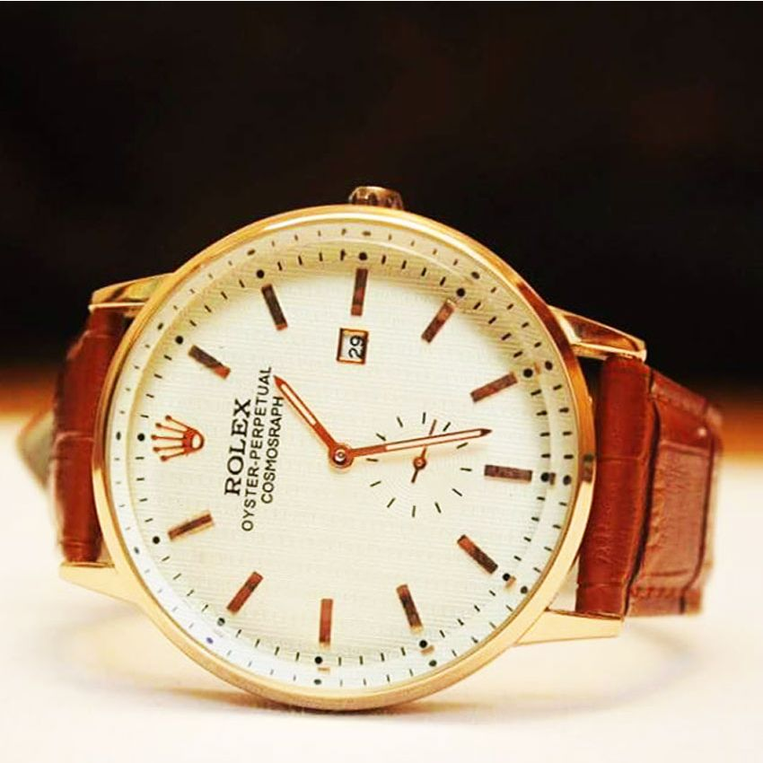 Rolex Brown Strap Watch for Mens
