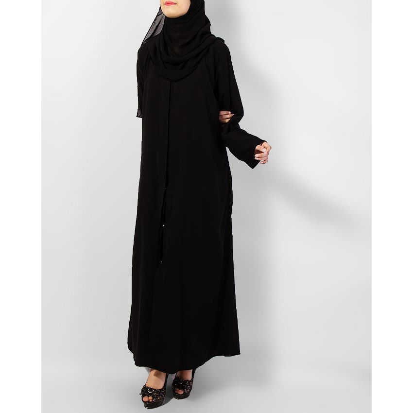 Front Open Chiffon Abaya for Women - Black