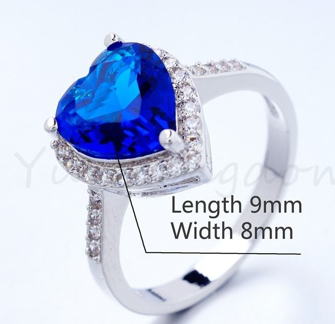 Blue Heart Diamond Platinum Ring