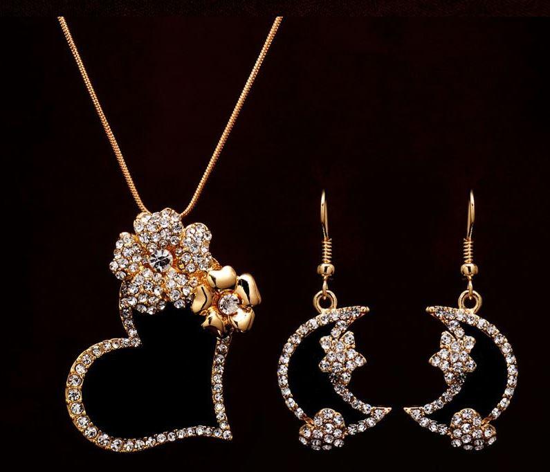 Gold Filled Austrian Crystal Enamel Heart Necklace & Earrings