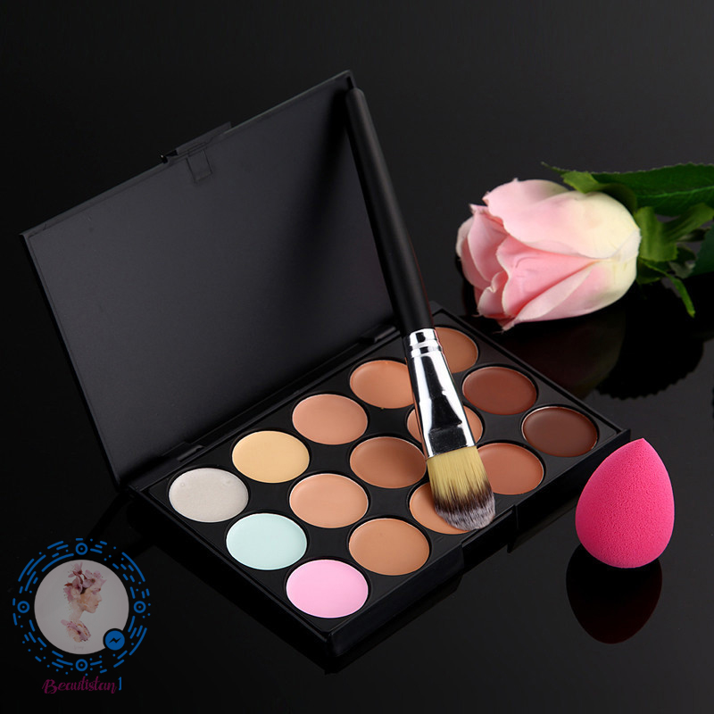 15 Color Hot Sale Concealer Palette+Powder Brush+B